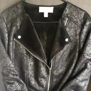 Micheal Kors black cloth motor cycle jacket size M